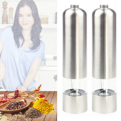 2in1 Stainless Steel Light Up Electric Salt&Pepper Mill Electronic Grinder Pot 2
