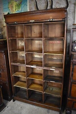 Antique French Tambour Fronted Filing Cabinet Pigeon Holes Storage