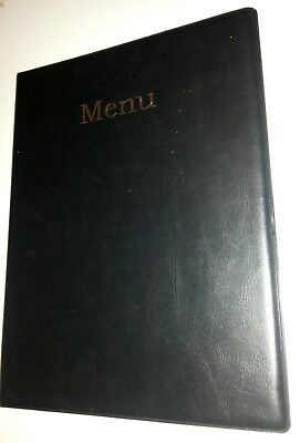 QTY 50 (fifty)A4 MENU COVER/FOLDER IN BLACK LEATHER LOOK PVC WITH gold BLOCKING