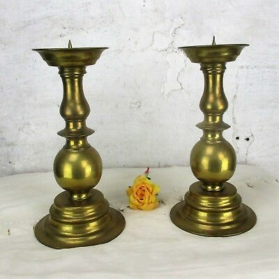 Large Couple Antique Vintage  Church Altar Ornate Brass Bronze Candle Holders