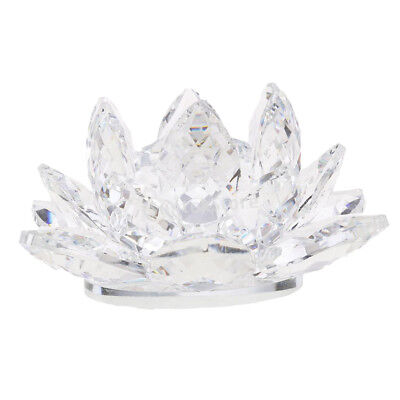 Crystal Lotus Ornament Crafts Paperweight Glass Model Wedding Gift Clear