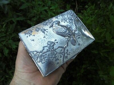 Antique Japanese Silver Plate Jewellery Trinket Box Cockatoo & Cherry Blossoms