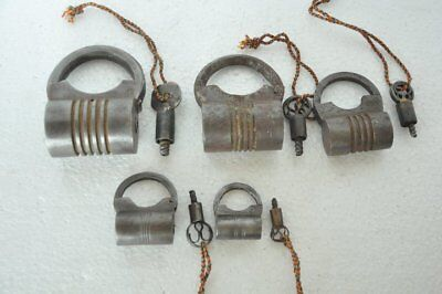 Old Iron 5 Pc Solid Cylindrical Shape Screw System Handcrafted Padlock