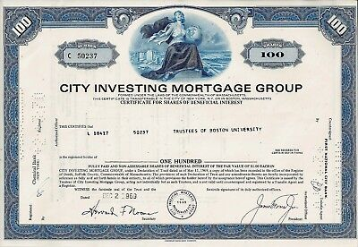 City Investing Mortgage Group, Massachusetts, 1969 (100 Shares)