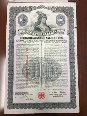 German Dawes External Loan 1924 $100 Dollar Gold Bond - Uncancelled + Coupons