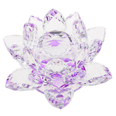 Crystal Lotus Flower Crafts Paperweights Glass Model Feng Shui Decor Purple