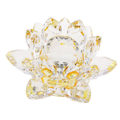 Crystal Lotus Flower Crafts Paperweights Glass Model Feng Shui Decor Yellow
