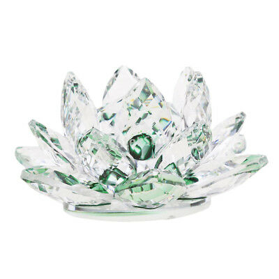 Crystal Lotus Flower Crafts Paperweights Glass Model Feng Shui Decor Green