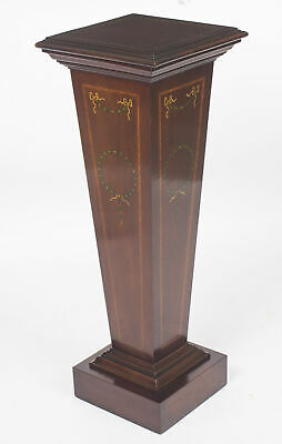 Antique Edwardian Inlaid & Painted  Mahogany Pedestal Stand c.1870