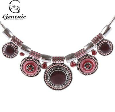 Necklace Vintage Antique Inspired Silver Plated Enamel Necklace Red