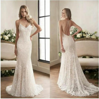 Spaghetti strap backless white wedding dress bridal gown