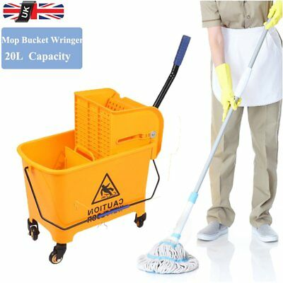 Industrial 20L Kentucky Wringer Mop Bucket Wheel Kitchen Commercial Professional