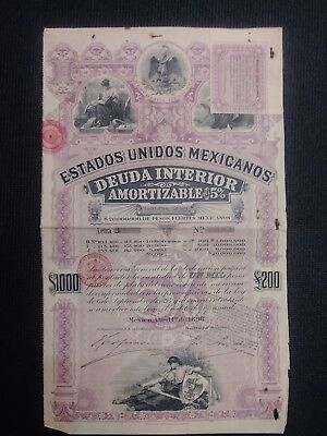 1898 Mexican Bond - Purple Lady Bond - Series J