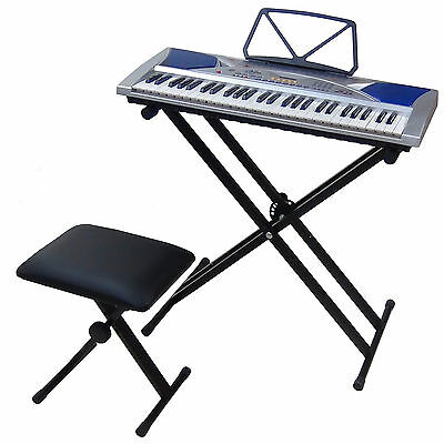 Clavier MK2054 LCD 54 Touches E-Piano Keyboard Enseignement avec Support Banc