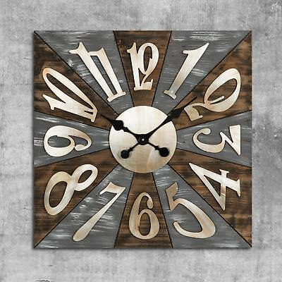 Square Wooden Wall Clock with Metal Numbers 70cm Arabic Dial Brown & Grey