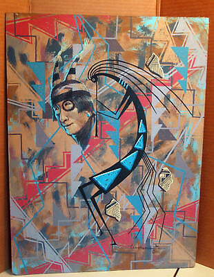 Kokopelli Original Painting By Navajo Fred Cleveland Signed - Acrylic On Board