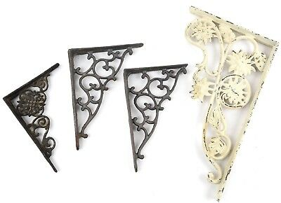 Vintage Cast Iron Shelf Support Wall Brackets Ornate Lot of 4 Floral Flower