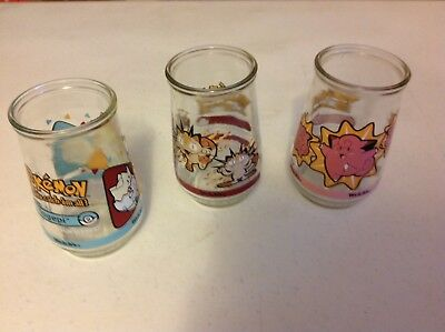 3 PokeMon Jelly JarS or JuicE DrinkinG Glasses-Fun Collector