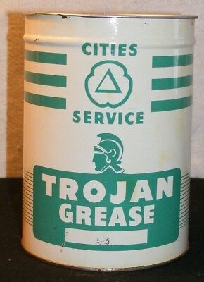 VTG TROJAN CAN CITIES SERVICE GREASE AUTHENTIC VTG! 1950s NO TOP