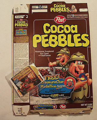 Post Cereal Box Cocoa Pebbles with Prize King Tut Medallion 1997