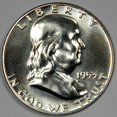 1953 Franklin Half Dollar - Flawless Bright White Gem Proof - Priced Right!