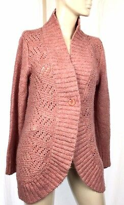Motherhood Maternity XL Sweater Pullover Cardigan Button Wool Long Sleeve Pink