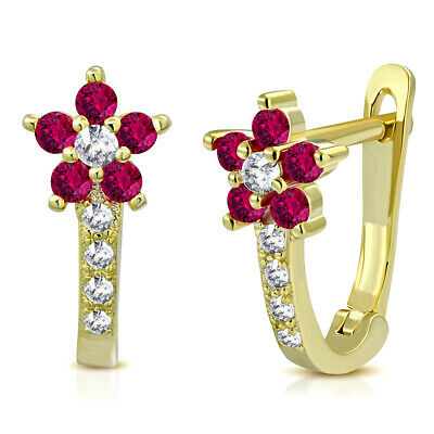 Sterling Silver Yellow Gold-Tone White Red CZ Girls Huggie Flower Earrings