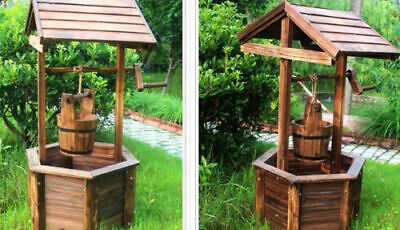Garden Wishing Well Planter Flower Bucket Patio Lawn Wooden Outdoor
