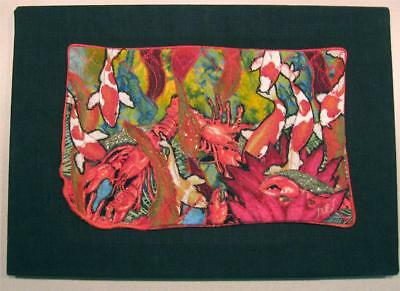 "Textile art quilt ""Gathering for Dinner"" koi fish, lobsters, signed, dated"