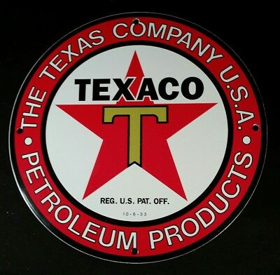 Vintage Texaco Gasoline Porcelain Sign