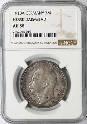 1910 A Germany Silver 3 Mark Hesse-Darmstadt NGC AU58