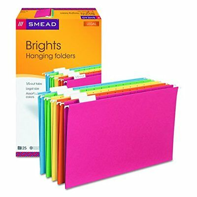 Smead Hanging File Folder with Tab 1/5-Cut Adjustable Tab Legal Size Assorted...