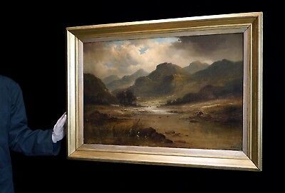 H. Williams - Large 19th Century Welsh Landscape, Mountain Oil Painting