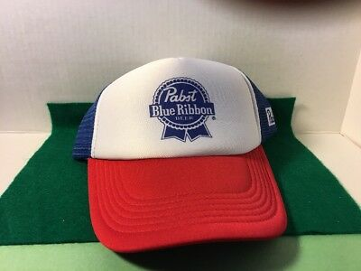 Retro PBR Trucker Hat, Pabst Blue Ribbon Beer Cap, Snapback Mesh Baseball cap!!!