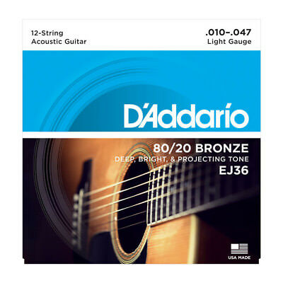 D'Addario EJ36 80/20 Bronze Acoustic Guitar Strings 12-string gauges 10-47