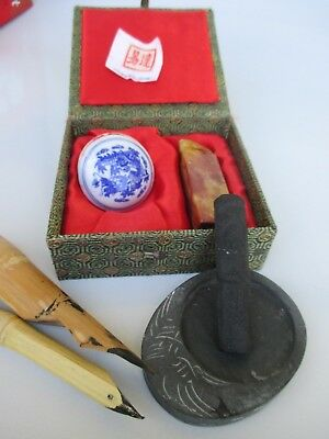 Asian Stone Seal-Wax-Ink-Grindstone-Bamboo Reed Pens in Fabric Box