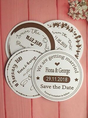 Personalised Wedding Round Magnetic Save The Date Cards Envelopes Craft Gold GR1