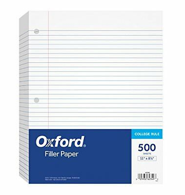"""Oxford Filler Paper 8-1/2"""" x 11"""" College Rule 3-Hole Punched Loose-Leaf Paper..."""