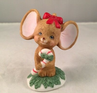 Vintage Lefton China Figurine Mouse w/ Candy Cane #02477