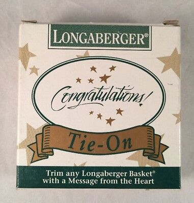 """Longaberger Basket Tie-On """"Congratulations!"""" - New In Box - 1994"""