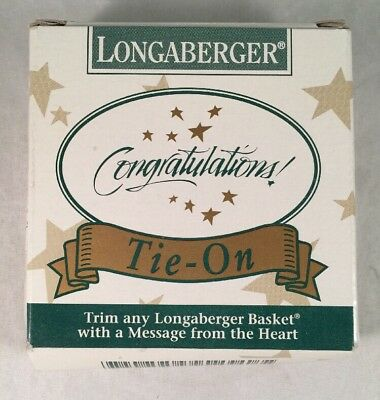 """Longaberger Basket Tie-On """"Congratulations!"""" 1994  - New In Box"""