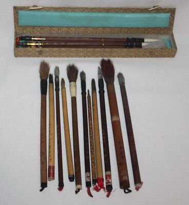 Vintage Japanese Chinese Bamboo Painting Brushes Calligraphy Tools
