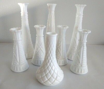 Vintage Milk Glass Vase Lot of 8 Flower Vases Wedding Decor Center Pieces Opaque