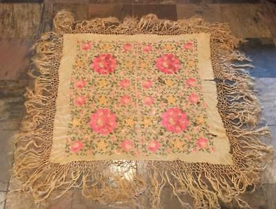 "Vintage Antique SILK EMBROIDERED Floral PIANO SHAWL 45"" X 48 W/ 15"" Fringe"