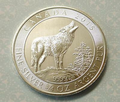 2015 Gray Wolf Canada $2 Silver Coin, 3/4oz .9999 Fine Canadian Silver Coin