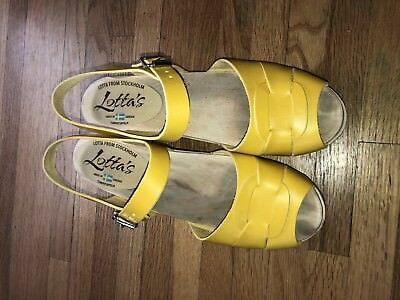 Lotta From Stockholm Yellow Peep Toe Clogs 41