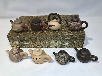 Miniature Teapot Set Of 8 Vintage Chinese Clay Mini Tea Pots W/ Lids In Silk Box