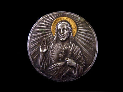 OLD VINTAGE 1930's. SILVER PLATED AND GILT ICON PLAQUE with JESUS CHRIST!!!
