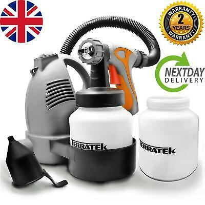 Electric Paint Sprayer Gun Indoor Varnish Lacquer Fence Garden Stain 2 paint pot