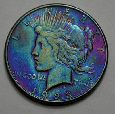 1923-S  Peace Dollar Silver $1.00 Coin, Toned, NO RESERVE !! Price !!